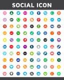 在六角形样式的社会媒介象 网站的,模板,横幅美好的颜色设计 免版税库存图片