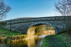 在兰卡斯特运河的一座桥梁 免版税库存图片
