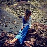 在兰萨罗特岛火山里面 库存照片