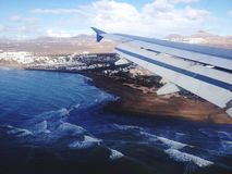 在兰萨罗特岛的飞行 免版税库存照片