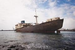 在兰萨罗特岛,加那利群岛,西班牙遭受海难 库存图片