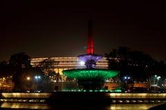 在共和国天的前夕,明亮的Rashtrapati Bhavan 库存图片