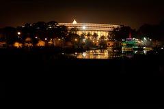 在共和国天的前夕,明亮的Rashtrapati Bhavan 免版税库存照片