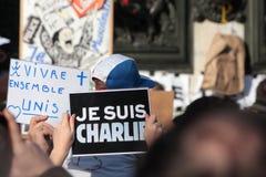 在共和国正方形的显示在巴黎 图库摄影