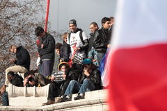 在共和国正方形的显示在巴黎 库存照片