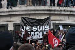 在共和国正方形的显示在巴黎 免版税库存图片