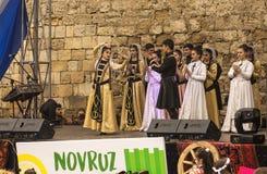 在共和国的首都的Novruz Bayram假日阿塞拜疆在市巴库 2017年3月22日 免版税库存照片