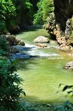在关岛峡谷使有大岩石的山河环境美化在岸 免版税库存图片
