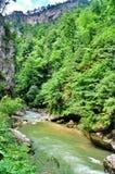 在关岛峡谷使有大岩石的山河环境美化在岸 免版税库存照片
