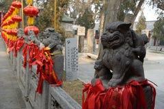 在关羽寺庙的传统建筑 库存照片