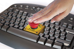 在关键董事会的紧急按钮 免版税库存照片