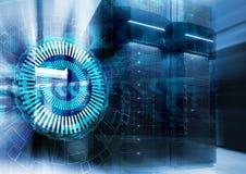 在关闭的抽象未来派背景服务器室,超级计算机现代内部  免版税库存照片