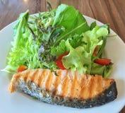在关闭的新鲜的烤三文鱼沙拉  免版税库存图片