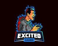 在兴奋Esport比赛动画片商标吉祥人的男性游戏玩家尖叫 皇族释放例证