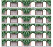 在其他上的老砖墙与12成拱形门道入口和常春藤 免版税库存照片