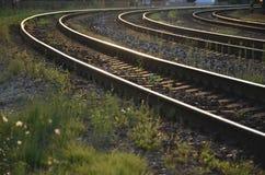 在具体睡眠者(三条弯曲的火车线)的路轨在晚上阳光下 免版税库存照片