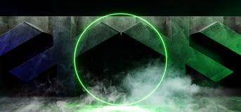 在具体难看的东西X被塑造的室的烟黑暗的充满活力的圈子霓虹减速火箭的萤光激光虚拟现实青绿的发光的光 皇族释放例证