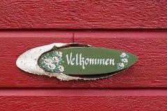 在典型的瑞典房子的可喜的迹象 免版税图库摄影