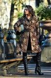 在典雅的外套的华美的时装模特儿在秋天公园 图库摄影