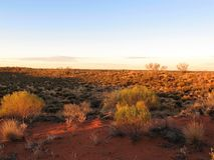 在内地澳大利亚人日落在Uluru国家公园 免版税库存图片