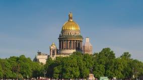 在内娃河和圣以撒的大教堂的看法 圣彼德堡 影视素材