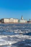 在内娃河的浮动冰在圣彼德堡,俄罗斯 库存照片