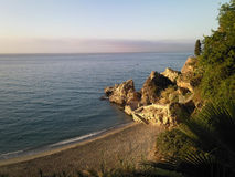 在内尔哈, Costa del Sol,安达卢西亚地区,马拉加省靠岸 图库摄影