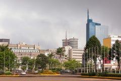在内罗毕中心商务区的看法  免版税图库摄影
