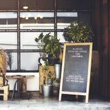 在内部概念之外的咖啡店装饰 库存图片