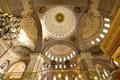在内部清真寺里面的惊人的曲拱详细资料 免版税图库摄影