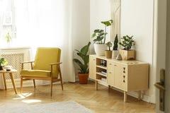 在内阁旁边的黄色木扶手椅子有明亮的livi的植物的 免版税库存照片