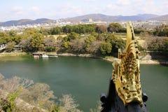 在冈山城堡和河视图顶部的金日本鱼雕象在冈山市,日本 免版税库存图片