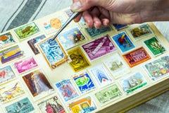 黏贴在册页的一个集邮家 图库摄影