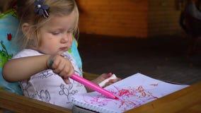 在册页的女孩图画 股票录像