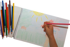 画在册页的男孩一支铅笔 库存照片