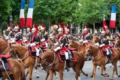 在军事游行的骑兵在共和国日 图库摄影