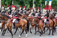 在军事游行的骑兵在共和国日 库存照片