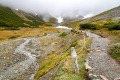 在军事的冰川的足迹 免版税库存图片
