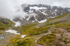 在军事的冰川的足迹 免版税库存照片