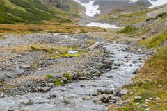 在军事的冰川的足迹 库存图片