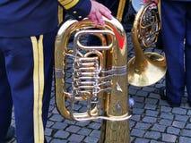 在军事的脚的伸缩喇叭 免版税库存照片