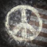 在军事背景的和平标志 库存照片