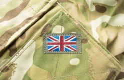 在军服的英国英国国旗旗子 免版税库存图片