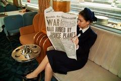 在军用列车的战争新闻 图库摄影