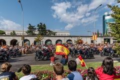 在军队游行的摩托车在马德里 免版税库存照片