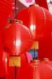 在农历新年的朱红色的灯笼 库存照片