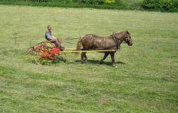 在农场的转动的干草 免版税库存图片