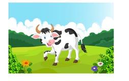 在农场的逗人喜爱的母牛动画片 库存照片