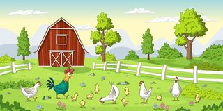 在农场的鸡 向量例证