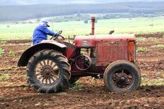 在农场被展示的葡萄酒红色拖拉机 免版税库存图片